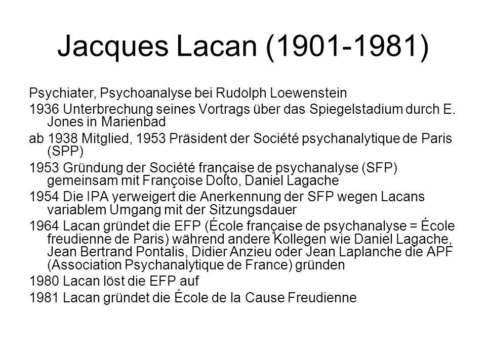 Jacques Lacan (1901-1981) Psychiater, Psychoanalyse bei Rudolph Loewenstein 1936 Unterbrechung seines Vortrags über das Spiegelstadium durch E.