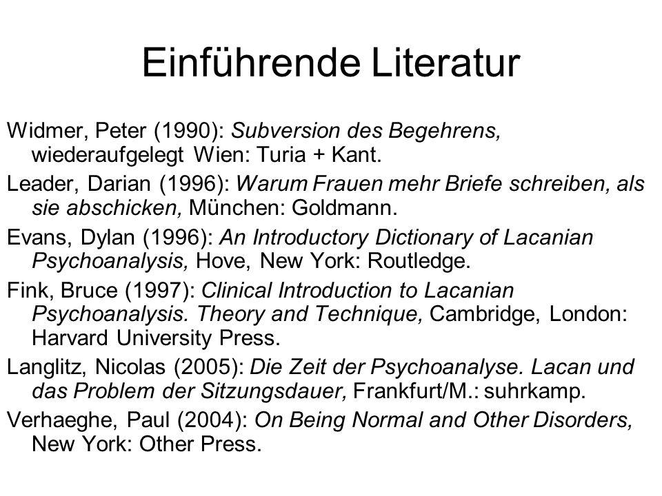 Einführende Literatur Widmer, Peter (1990): Subversion des Begehrens, wiederaufgelegt Wien: Turia + Kant.