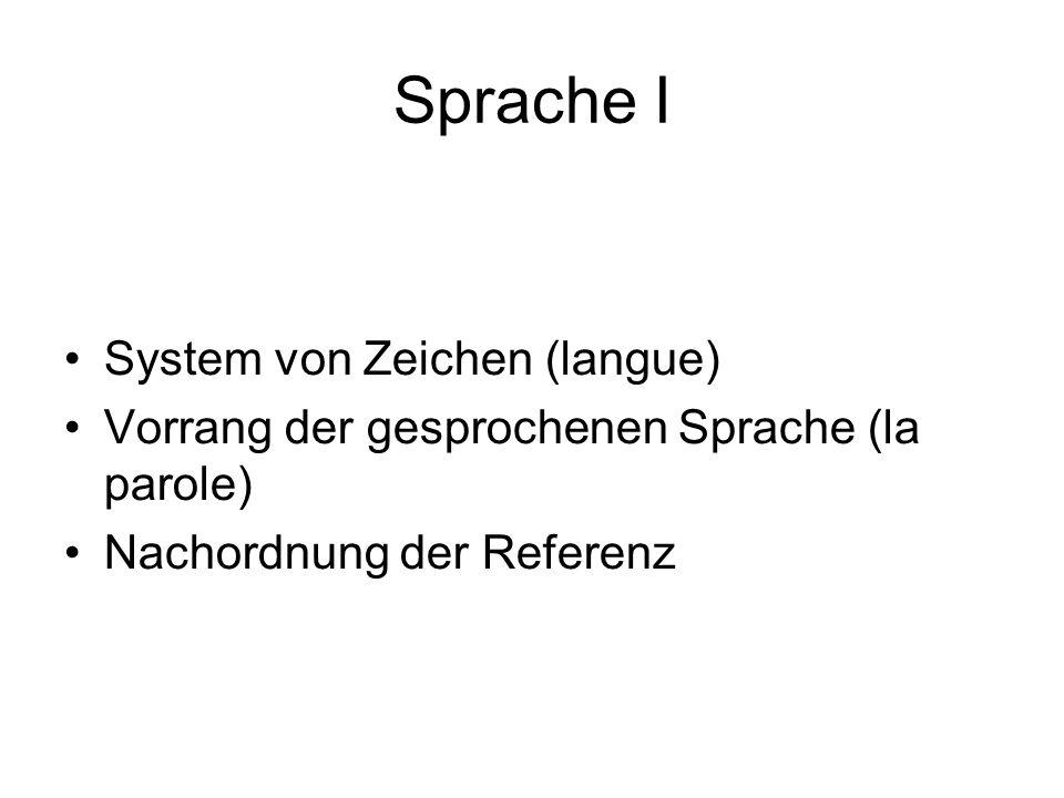Sprache I System von Zeichen (langue) Vorrang der gesprochenen Sprache (la parole) Nachordnung der Referenz