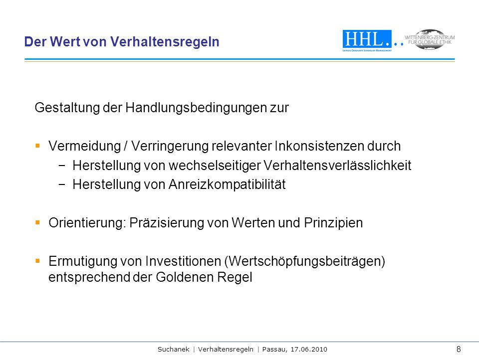 Suchanek | Verhaltensregeln | Passau, 17.06.2010 8 Der Wert von Verhaltensregeln Gestaltung der Handlungsbedingungen zur  Vermeidung / Verringerung r