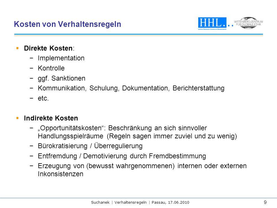 Suchanek | Verhaltensregeln | Passau, 17.06.2010 9 Kosten von Verhaltensregeln  Direkte Kosten: −Implementation −Kontrolle −ggf. Sanktionen −Kommunik