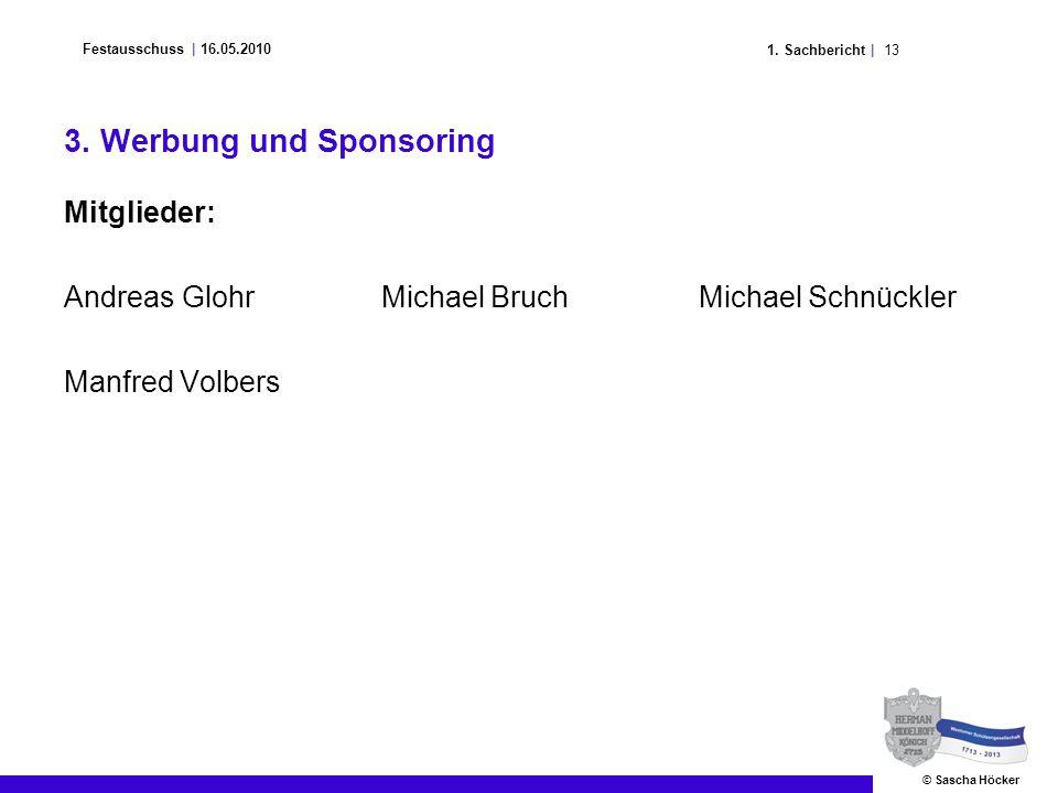 131. Sachbericht | Festausschuss | 16.05.2010 © Sascha Höcker 3. Werbung und Sponsoring Mitglieder: Andreas GlohrMichael BruchMichael Schnückler Manfr