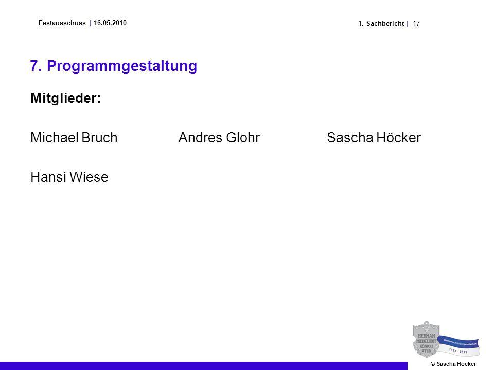 171. Sachbericht | Festausschuss | 16.05.2010 © Sascha Höcker 7. Programmgestaltung Mitglieder: Michael BruchAndres GlohrSascha Höcker Hansi Wiese