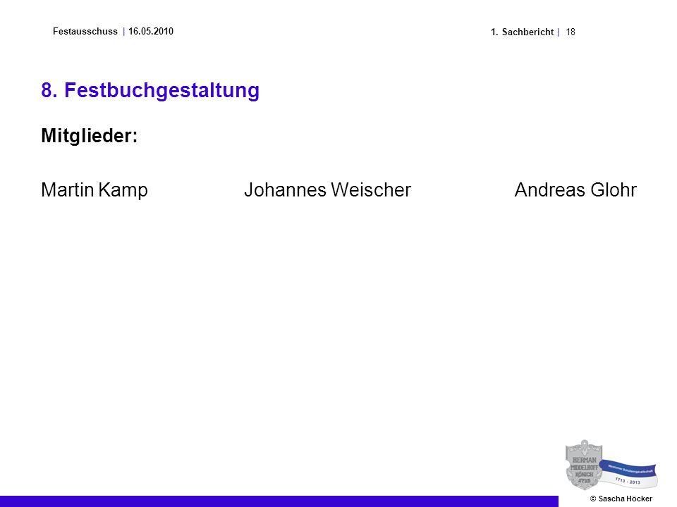 181. Sachbericht | Festausschuss | 16.05.2010 © Sascha Höcker 8. Festbuchgestaltung Mitglieder: Martin KampJohannes WeischerAndreas Glohr