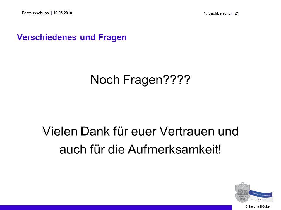 211. Sachbericht | Festausschuss | 16.05.2010 © Sascha Höcker Verschiedenes und Fragen Noch Fragen???? Vielen Dank für euer Vertrauen und auch für die