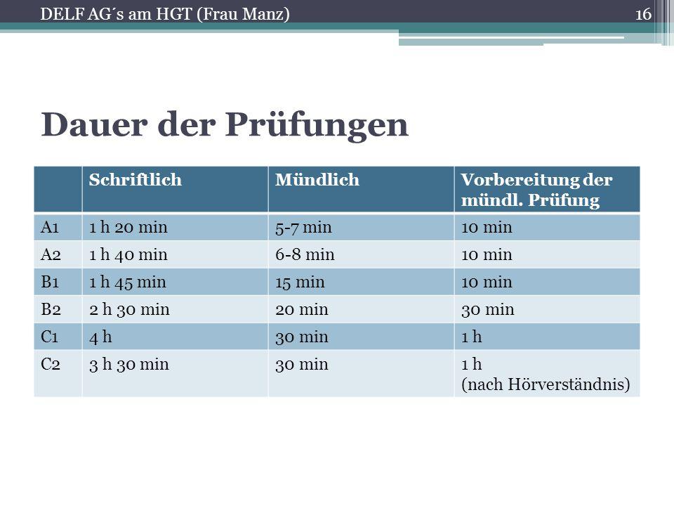 Dauer der Prüfungen SchriftlichMündlichVorbereitung der mündl. Prüfung A11 h 20 min5-7 min10 min A21 h 40 min6-8 min10 min B11 h 45 min15 min10 min B2