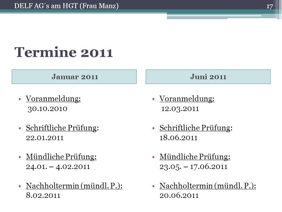 Kosten NiveauPreis A118 € A235 € B140 € B250 € C190 € C2110 € 18 DELF AG´s am HGT (Frau Manz)