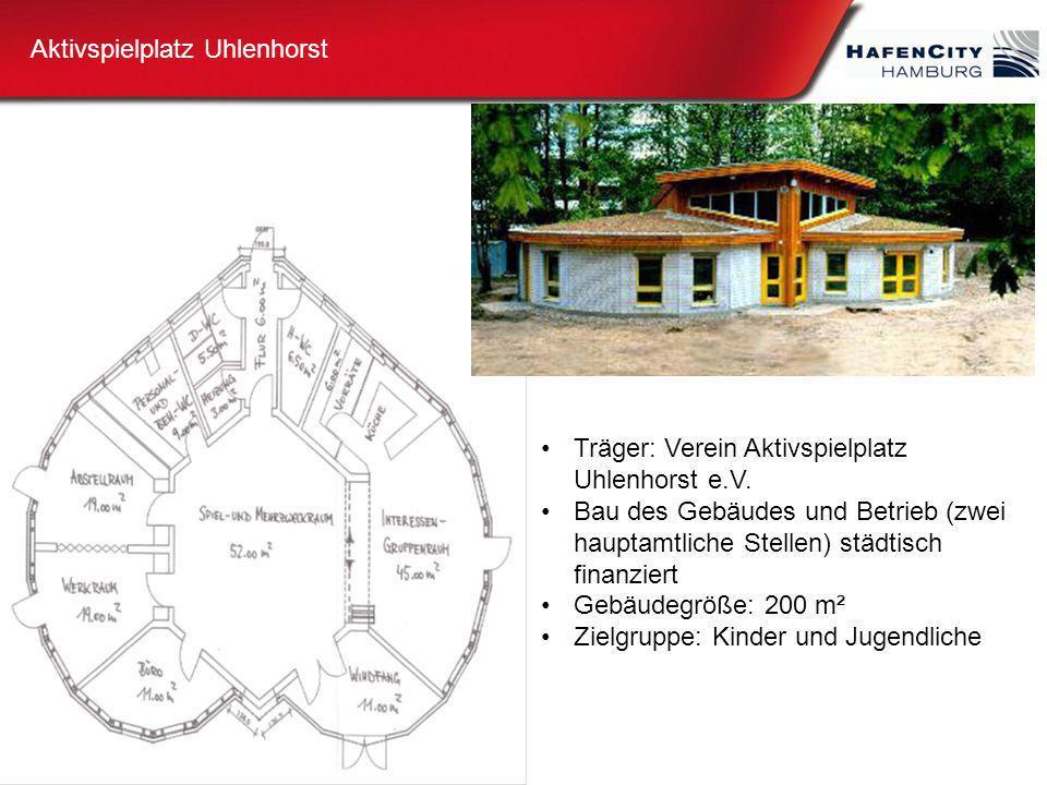 Aktivspielplatz Uhlenhorst Träger: Verein Aktivspielplatz Uhlenhorst e.V. Bau des Gebäudes und Betrieb (zwei hauptamtliche Stellen) städtisch finanzie