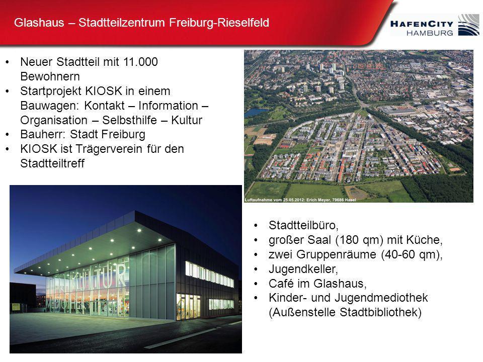 Glashaus – Stadtteilzentrum Freiburg-Rieselfeld Neuer Stadtteil mit 11.000 Bewohnern Startprojekt KIOSK in einem Bauwagen: Kontakt – Information – Org