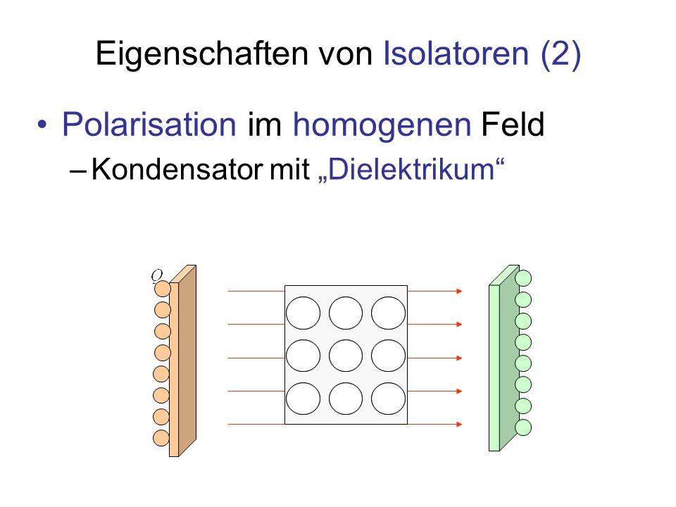 Antwort von Isolatoren auf elektrische Felder Die Ladungen können im Objekt nicht beliebig verschoben werden Aber: In elementaren Baugruppen, Atomen oder Molekülen, verlagern sich die Schwerpunkte negativer und positiver Ladungen: Die Bildung von Dipolen führt zu Polarisation