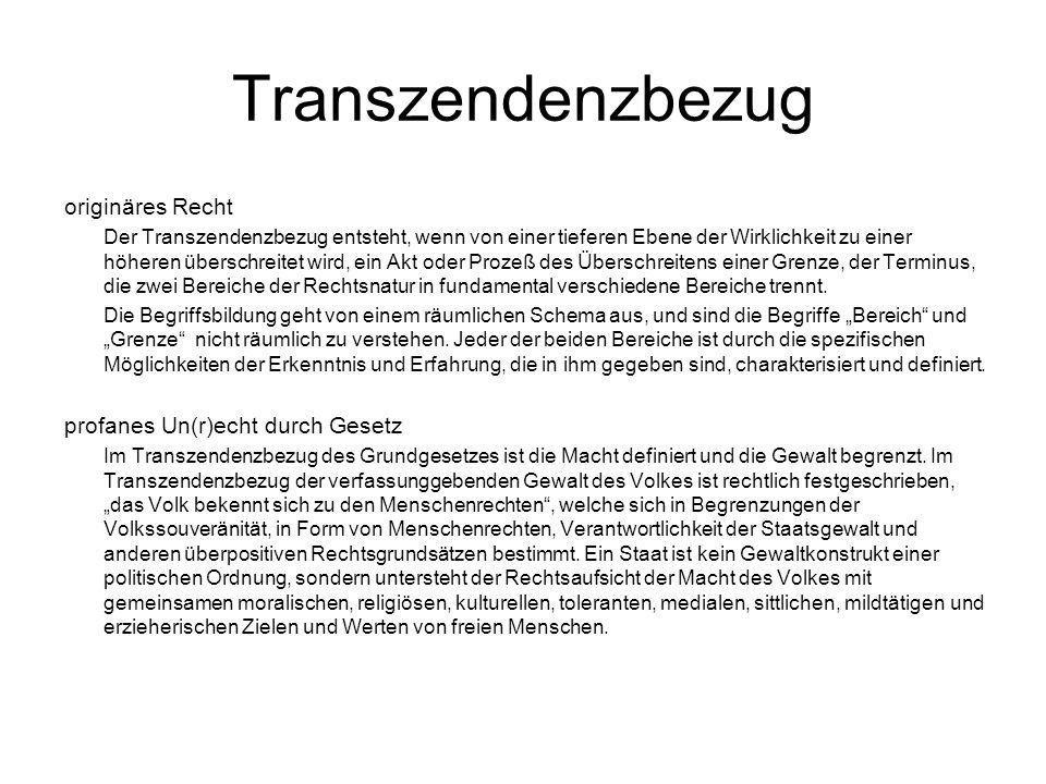 Transzendenzbezug originäres Recht Der Transzendenzbezug entsteht, wenn von einer tieferen Ebene der Wirklichkeit zu einer höheren überschreitet wird, ein Akt oder Prozeß des Überschreitens einer Grenze, der Terminus, die zwei Bereiche der Rechtsnatur in fundamental verschiedene Bereiche trennt.