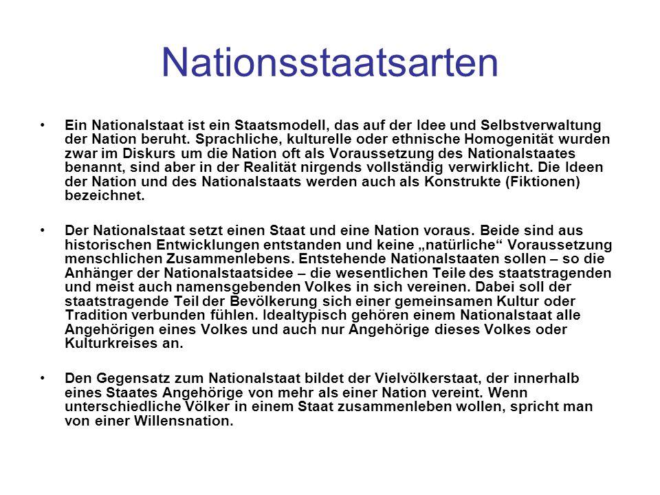 Nationsstaatsarten Ein Nationalstaat ist ein Staatsmodell, das auf der Idee und Selbstverwaltung der Nation beruht. Sprachliche, kulturelle oder ethni
