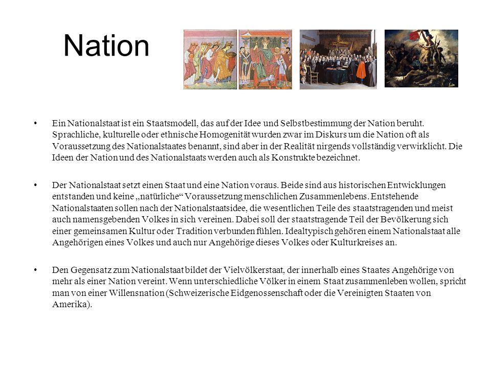 Nation Ein Nationalstaat ist ein Staatsmodell, das auf der Idee und Selbstbestimmung der Nation beruht. Sprachliche, kulturelle oder ethnische Homogen
