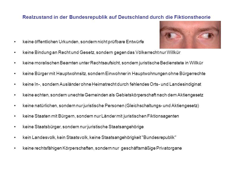 Realzustand in der Bundesrepublik auf Deutschland durch die Fiktionstheorie keine öffentlichen Urkunden, sondern nicht prüfbare Entwürfe keine Bindung