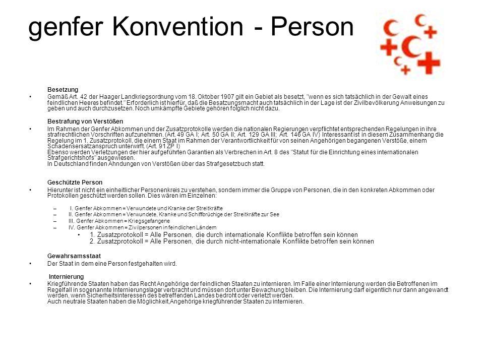 genfer Konvention - Person Besetzung Gemäß Art.42 der Haager Landkriegsordnung vom 18.