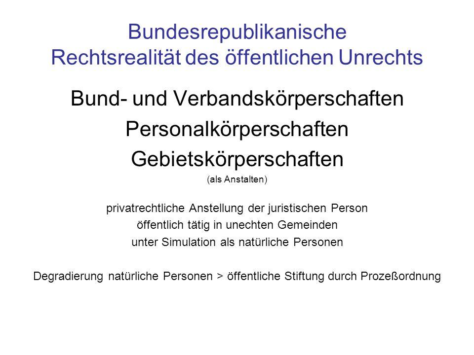 Bundesrepublikanische Rechtsrealität des öffentlichen Unrechts Bund- und Verbandskörperschaften Personalkörperschaften Gebietskörperschaften (als Anst