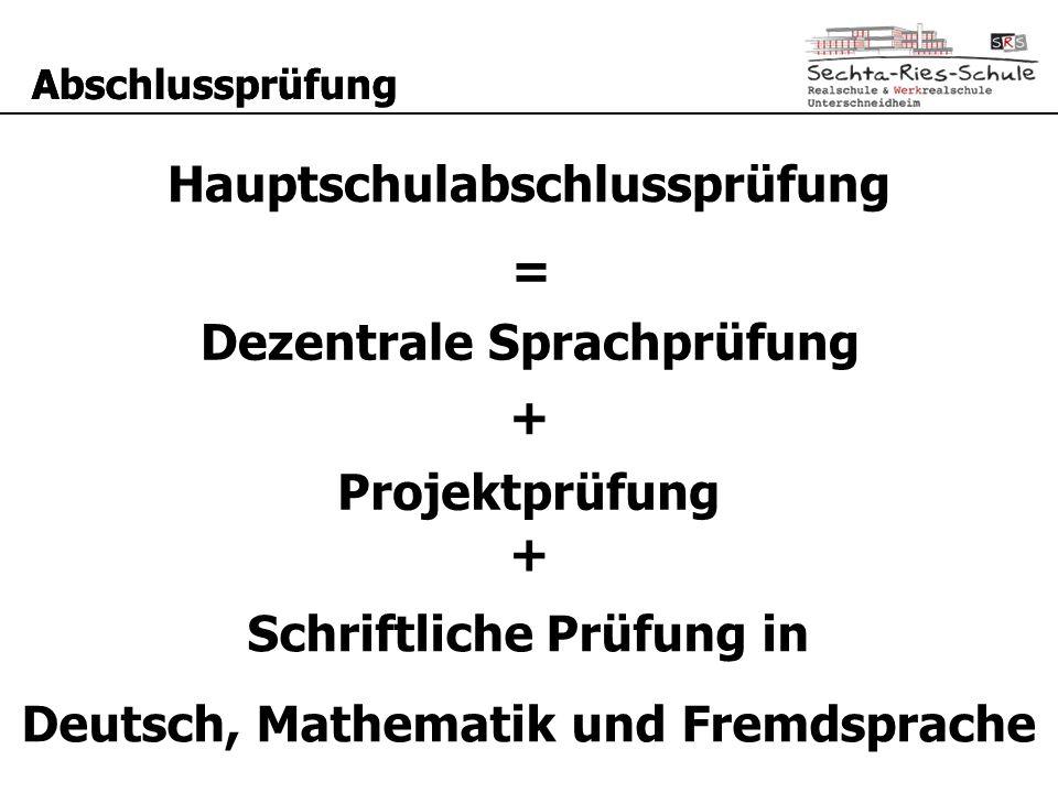 Abschlussprüfung Hauptschulabschlussprüfung = Schriftliche Prüfung in Deutsch, Mathematik und Fremdsprache + Dezentrale Sprachprüfung Projektprüfung +