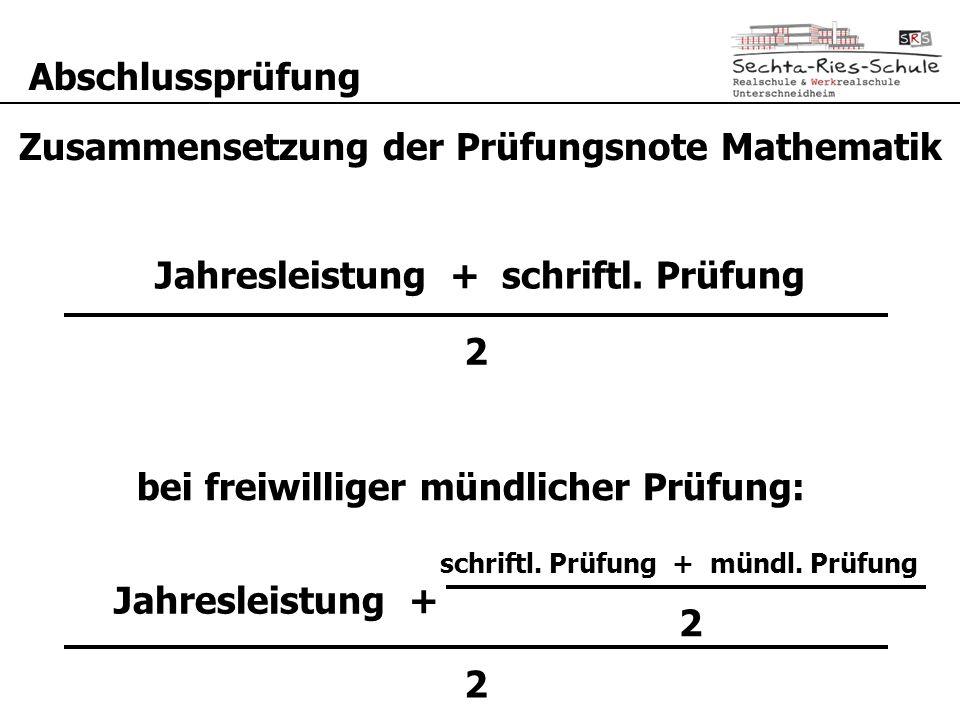 Abschlussprüfung Jahresleistung + Prüfungsleistung 2 Zusammensetzung der Prüfungsnote Mathematik schriftl. Prüfung + mündl. Prüfung 2 Jahresleistung +
