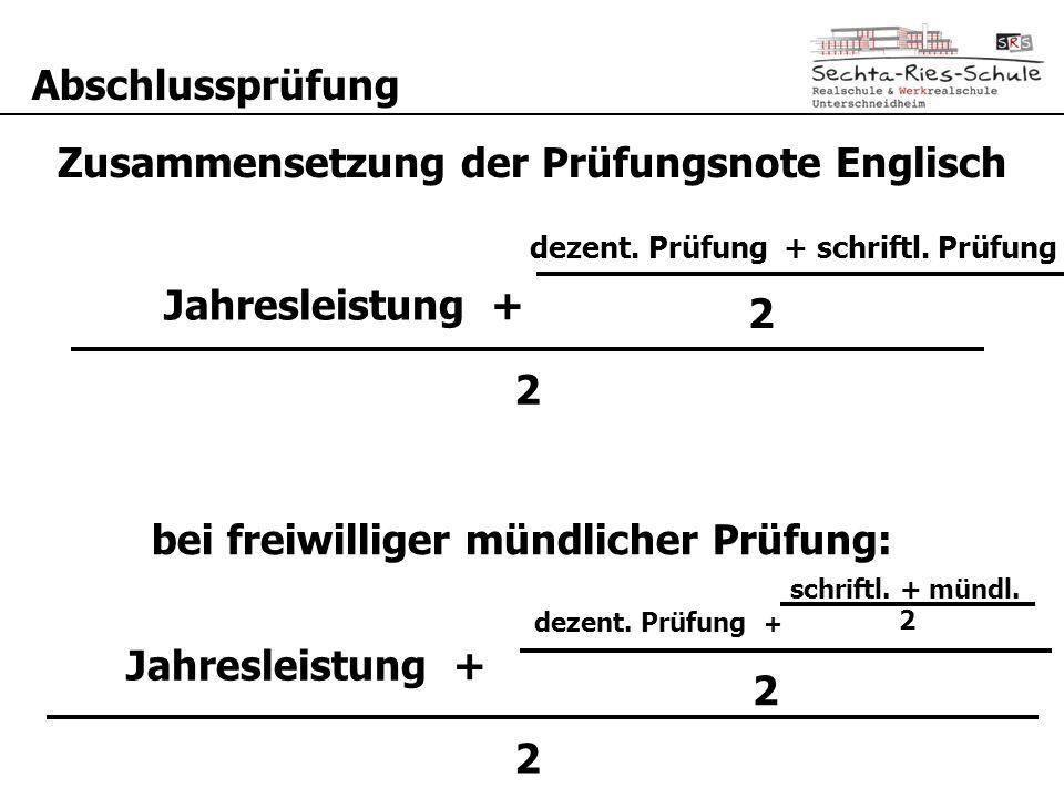 Abschlussprüfung Jahresleistung + Prüfungsleistung 2 Zusammensetzung der Prüfungsnote Englisch 2 Jahresleistung + Prüfungsleistung 2 bei freiwilliger mündlicher Prüfung: dezent.