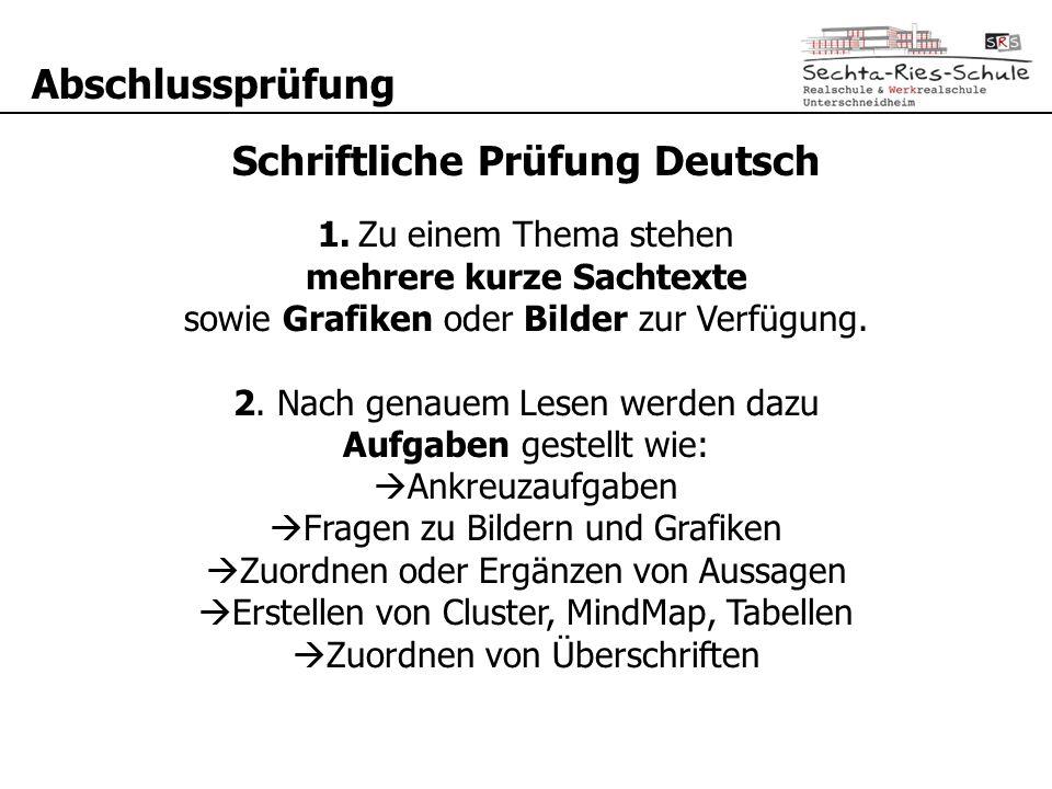 Abschlussprüfung Schriftliche Prüfung Deutsch 1. Zu einem Thema stehen mehrere kurze Sachtexte sowie Grafiken oder Bilder zur Verfügung. 2. Nach genau