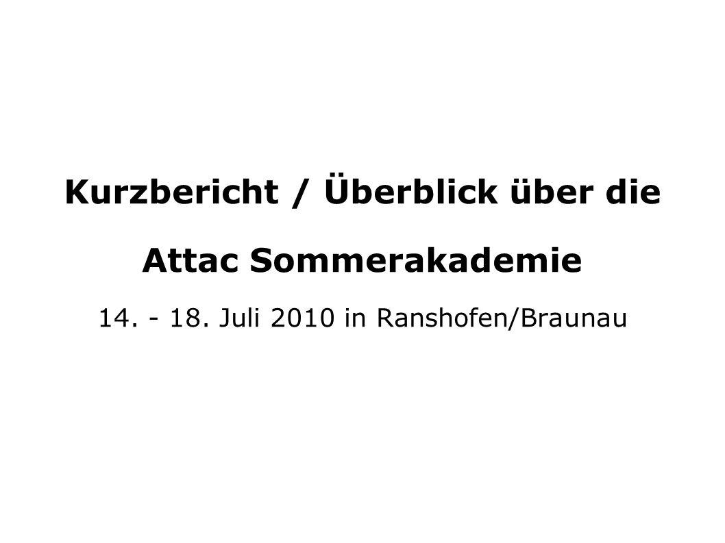 Kurzbericht / Überblick über die Attac Sommerakademie 14. - 18. Juli 2010 in Ranshofen/Braunau