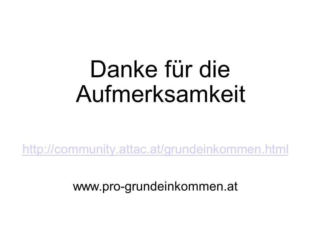 Danke für die Aufmerksamkeit http://community.attac.at/grundeinkommen.html www.pro-grundeinkommen.at