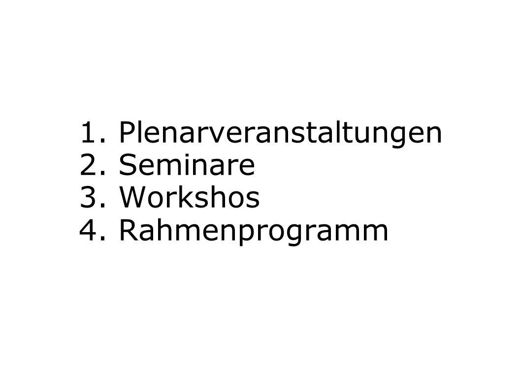 1. Plenarveranstaltungen 2. Seminare 3. Workshos 4. Rahmenprogramm