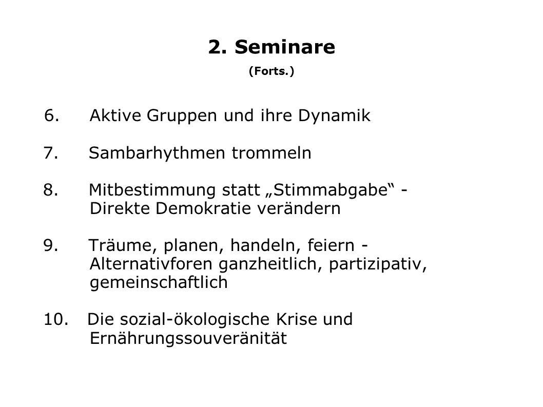 """2. Seminare (Forts.) 6. Aktive Gruppen und ihre Dynamik 7. Sambarhythmen trommeln 8. Mitbestimmung statt """"Stimmabgabe"""" - Direkte Demokratie verändern"""
