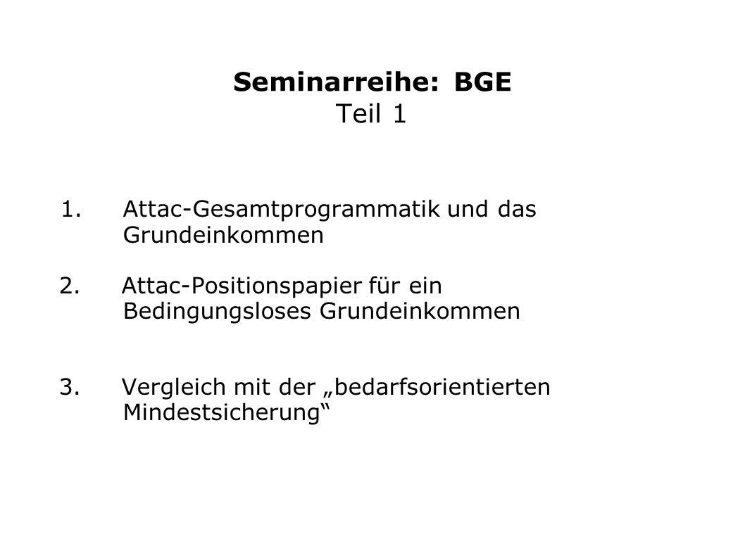 Seminarreihe: BGE Teil 1 1. Attac-Gesamtprogrammatik und das Grundeinkommen 2. Attac-Positionspapier für ein Bedingungsloses Grundeinkommen 3. Verglei