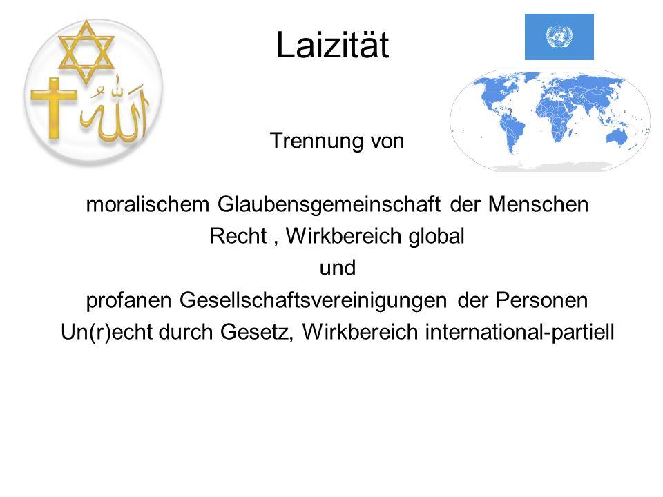 Laizität Trennung von moralischem Glaubensgemeinschaft der Menschen Recht, Wirkbereich global und profanen Gesellschaftsvereinigungen der Personen Un(r)echt durch Gesetz, Wirkbereich international-partiell