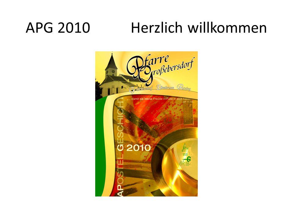 APG 2010 Herzlich willkommen