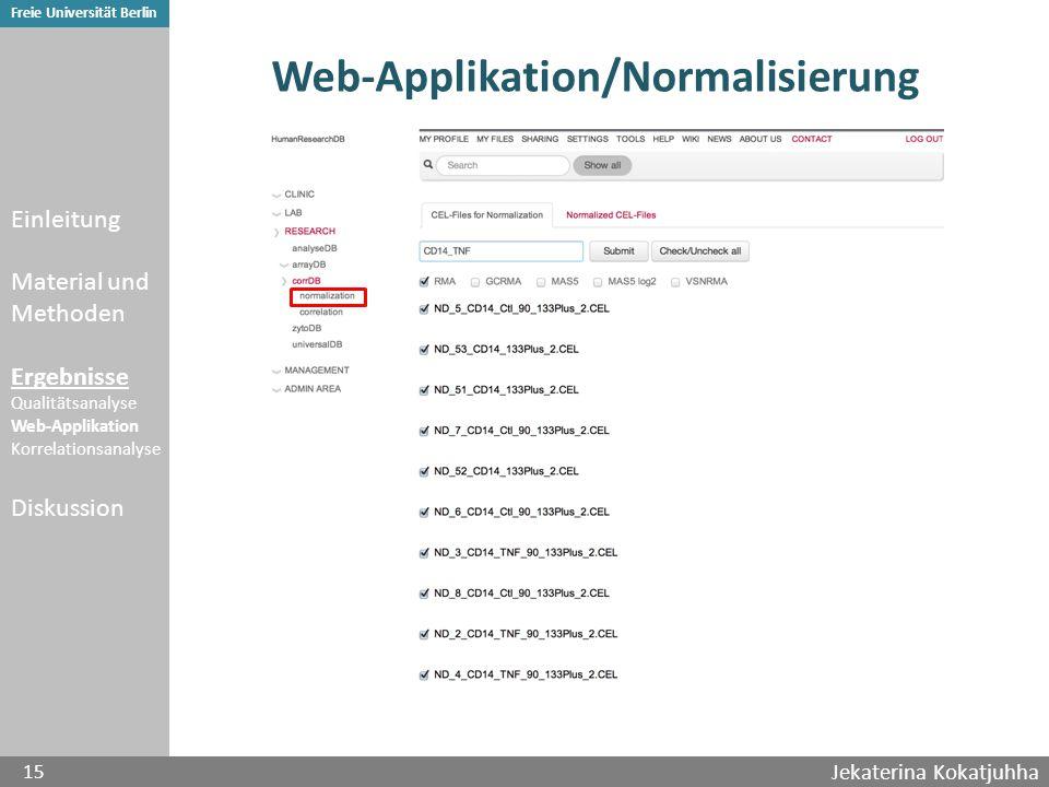 Jekaterina Kokatjuhha 15 Freie Universität Berlin Web-Applikation/Normalisierung Einleitung Material und Methoden Ergebnisse Qualitätsanalyse Web-Applikation Korrelationsanalyse Diskussion