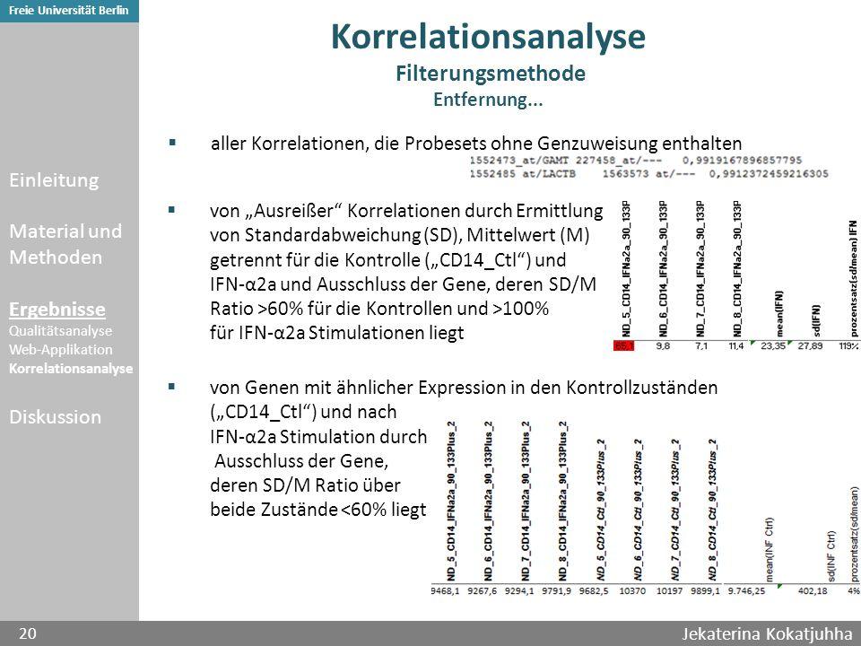 Jekaterina Kokatjuhha 20 Freie Universität Berlin Korrelationsanalyse Filterungsmethode Entfernung...