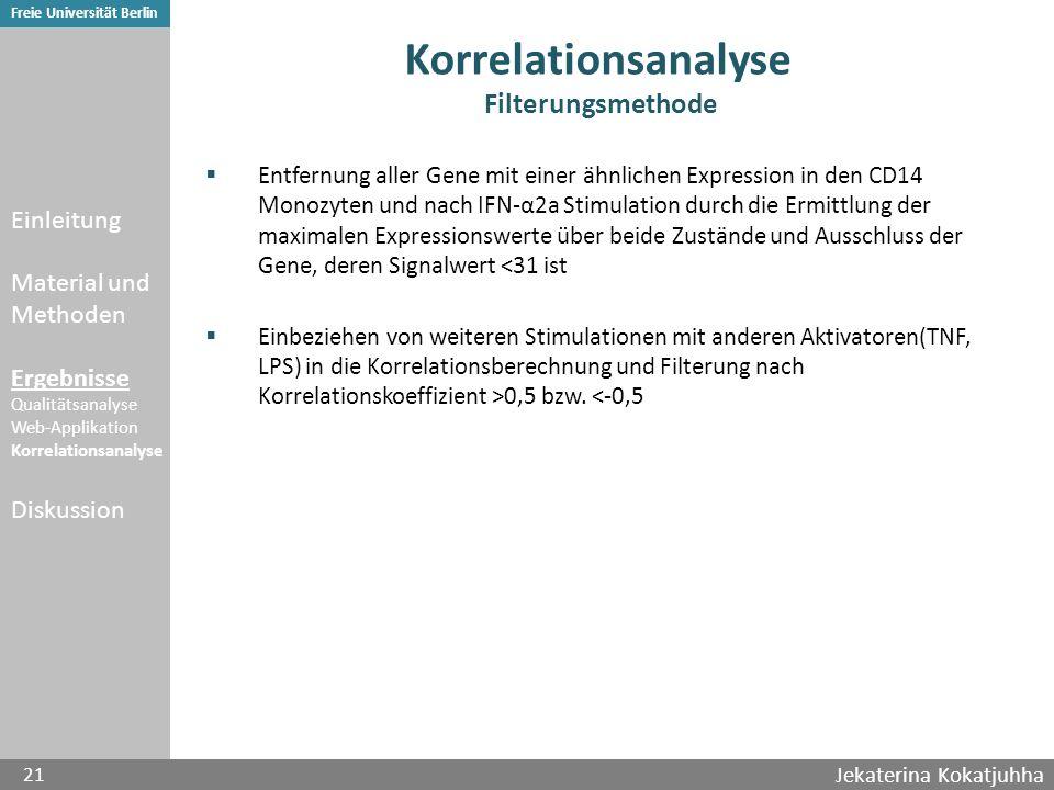 Jekaterina Kokatjuhha 21 Freie Universität Berlin Korrelationsanalyse Filterungsmethode  Entfernung aller Gene mit einer ähnlichen Expression in den CD14 Monozyten und nach IFN-α2a Stimulation durch die Ermittlung der maximalen Expressionswerte über beide Zustände und Ausschluss der Gene, deren Signalwert <31 ist  Einbeziehen von weiteren Stimulationen mit anderen Aktivatoren(TNF, LPS) in die Korrelationsberechnung und Filterung nach Korrelationskoeffizient >0,5 bzw.