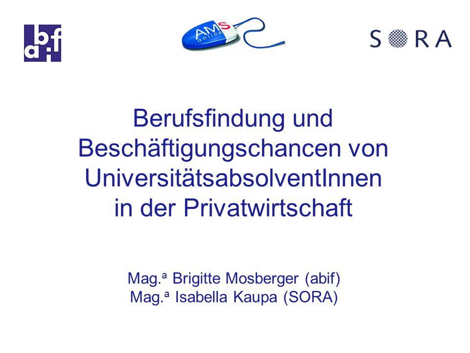 Berufsfindung und Beschäftigungschancen von UniversitätsabsolventInnen in der Privatwirtschaft Mag.