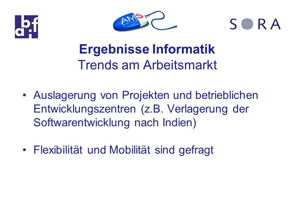 Ergebnisse Informatik Trends am Arbeitsmarkt Auslagerung von Projekten und betrieblichen Entwicklungszentren (z.B.