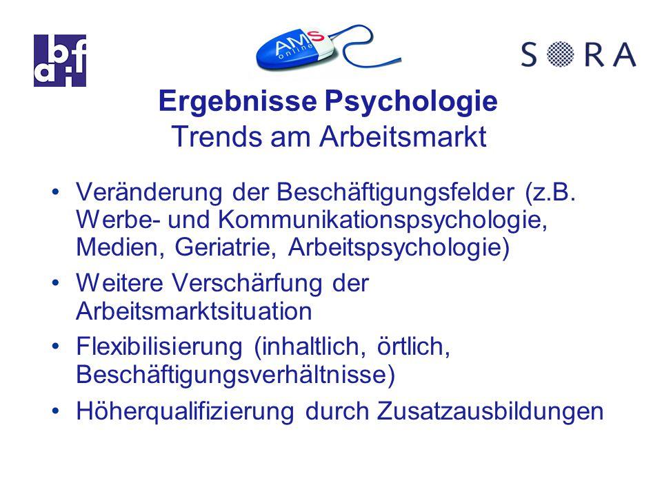 Ergebnisse Psychologie Trends am Arbeitsmarkt Veränderung der Beschäftigungsfelder (z.B.