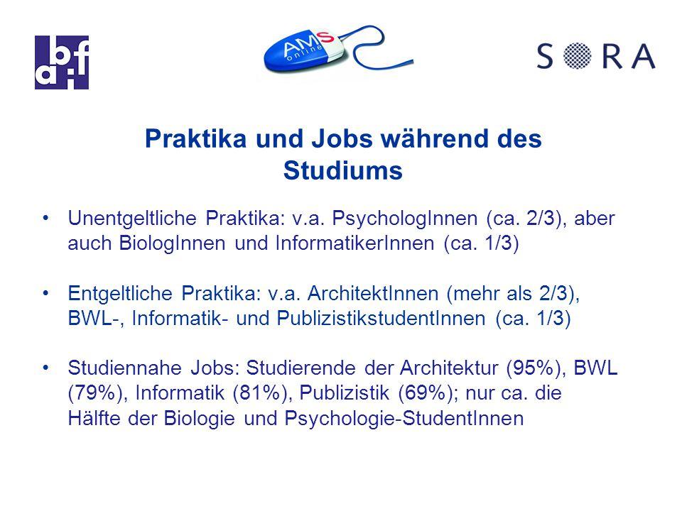 Praktika und Jobs während des Studiums Unentgeltliche Praktika: v.a.
