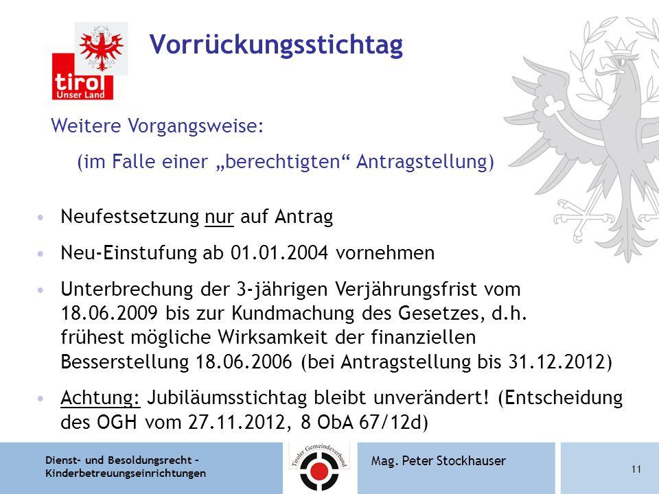 """Dienst- und Besoldungsrecht – Kinderbetreuungseinrichtungen 11 Mag. Peter Stockhauser Vorrückungsstichtag Weitere Vorgangsweise: (im Falle einer """"bere"""