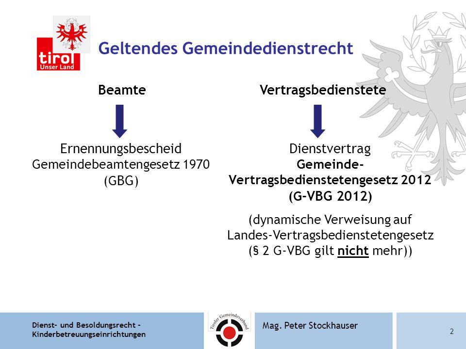 Dienst- und Besoldungsrecht – Kinderbetreuungseinrichtungen 13 Mag.