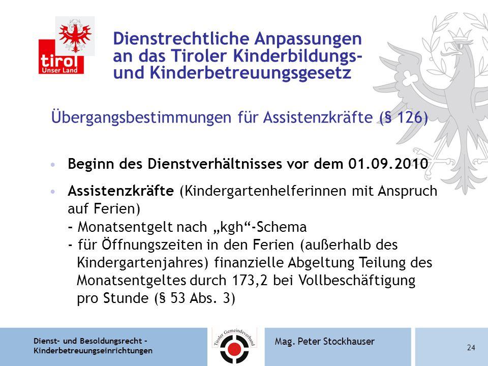 Dienst- und Besoldungsrecht – Kinderbetreuungseinrichtungen 24 Mag. Peter Stockhauser Dienstrechtliche Anpassungen an das Tiroler Kinderbildungs- und