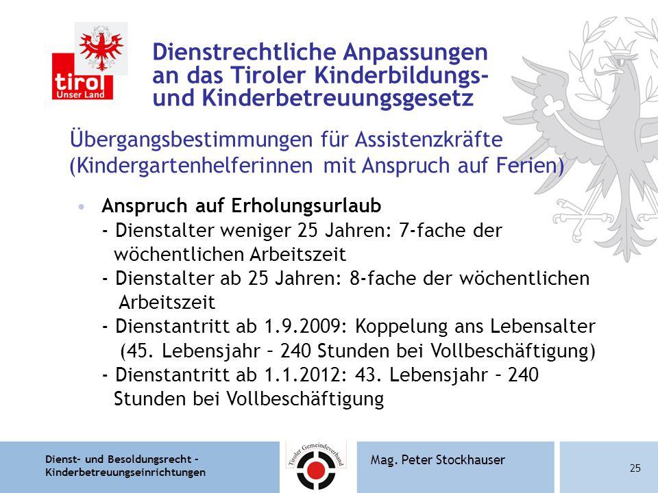 Dienst- und Besoldungsrecht – Kinderbetreuungseinrichtungen 25 Mag. Peter Stockhauser Dienstrechtliche Anpassungen an das Tiroler Kinderbildungs- und
