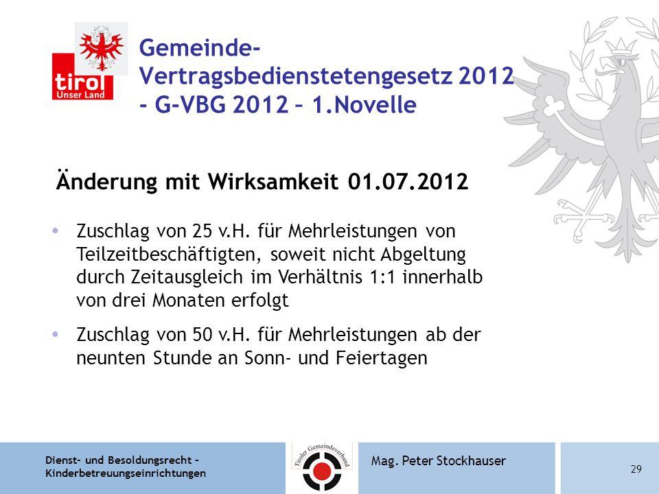 Dienst- und Besoldungsrecht – Kinderbetreuungseinrichtungen 29 Mag. Peter Stockhauser Gemeinde- Vertragsbedienstetengesetz 2012 - G-VBG 2012 – 1.Novel
