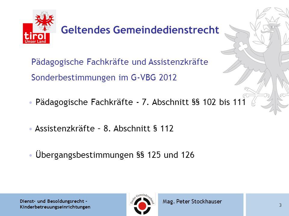 Dienst- und Besoldungsrecht – Kinderbetreuungseinrichtungen 14 Mag.