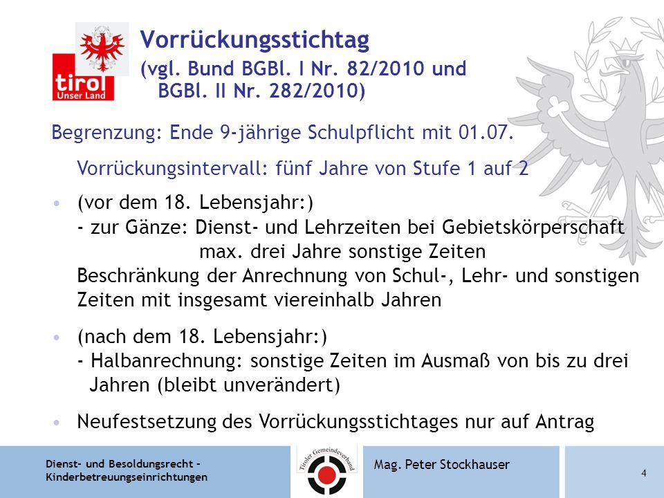 Dienst- und Besoldungsrecht – Kinderbetreuungseinrichtungen 4 Mag. Peter Stockhauser Vorrückungsstichtag (vgl. Bund BGBl. I Nr. 82/2010 und BGBl. II N