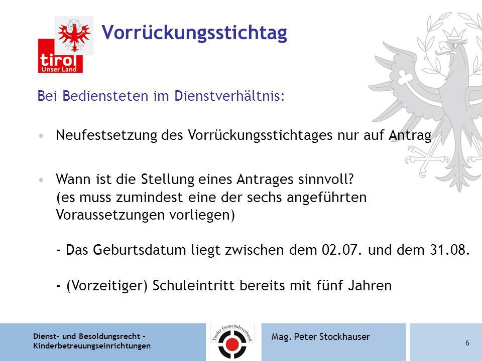 Dienst- und Besoldungsrecht – Kinderbetreuungseinrichtungen 7 Mag.