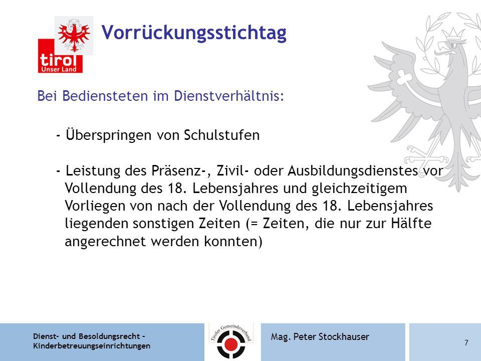 Dienst- und Besoldungsrecht – Kinderbetreuungseinrichtungen 8 Mag.