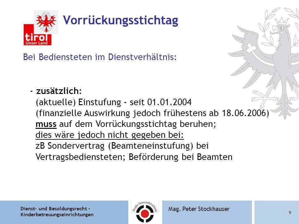 Dienst- und Besoldungsrecht – Kinderbetreuungseinrichtungen 10 Mag.