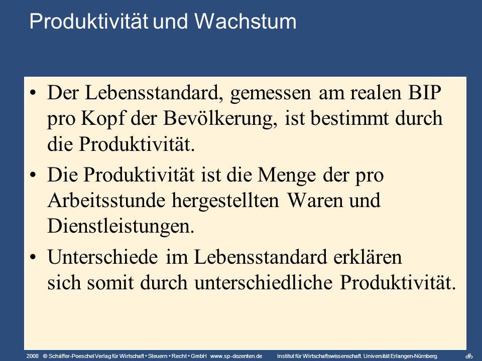 6 Produktivität und Wachstum Der Lebensstandard, gemessen am realen BIP pro Kopf der Bevölkerung, ist bestimmt durch die Produktivität.