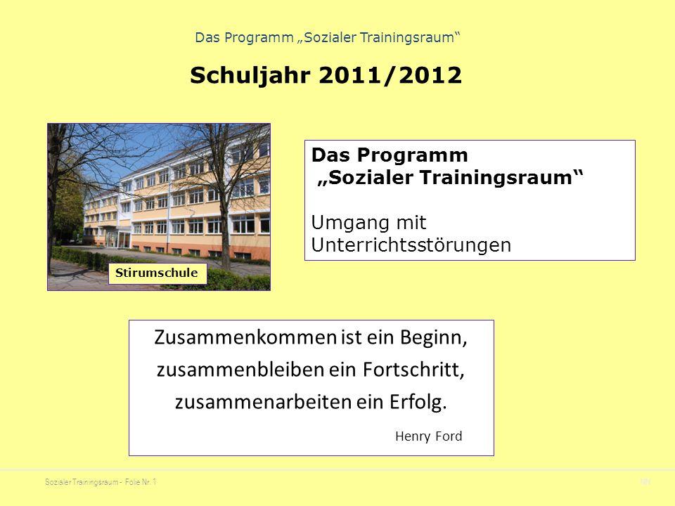 """Sozialer Trainingsraum - Folie Nr. 1NN Das Programm """"Sozialer Trainingsraum"""" Zusammenkommen ist ein Beginn, zusammenbleiben ein Fortschritt, zusammena"""